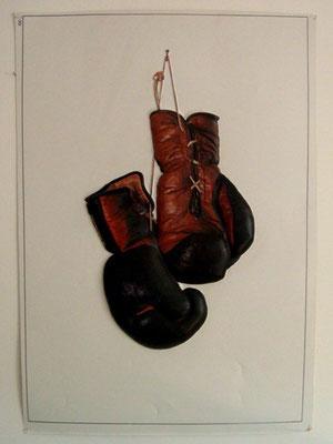 Poster relief gants de boxe vintage