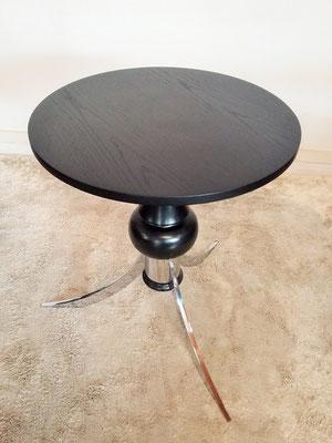 Table guéridon chrome et bois