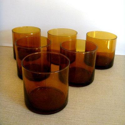 Verres à eau en verre fumé vintage