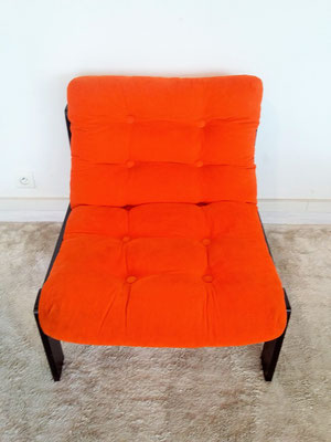 Fauteuil vintage orange années 70