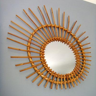 miroir rotin soleil décalé vintage 234-2