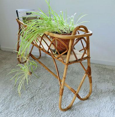 Porte plantes jardinière rotin vintage