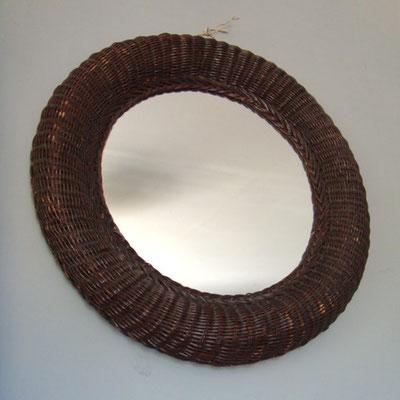 miroir rotin tressé rond vintage