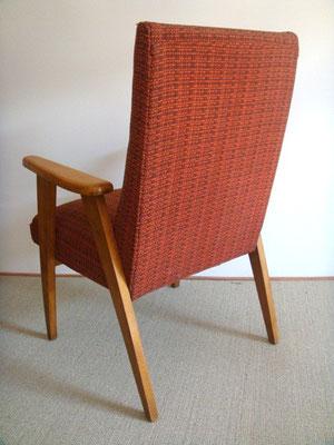 Fauteuil bois et tissus vintage années 50