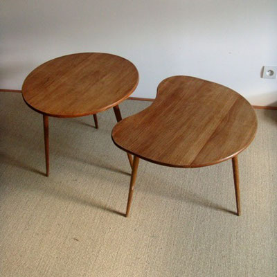 Duo de tables basses tripodes / compas vintage