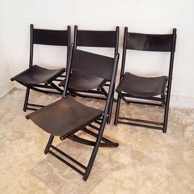 Suite de 4 chaises pliantes italiennes bois et cuir