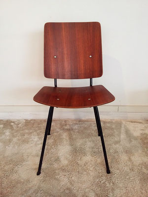 Chaise teck et métal scandinave