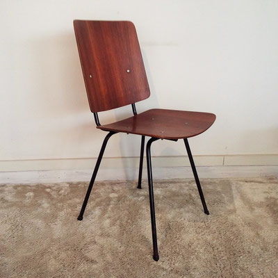 Chaise métal et teck scandinave