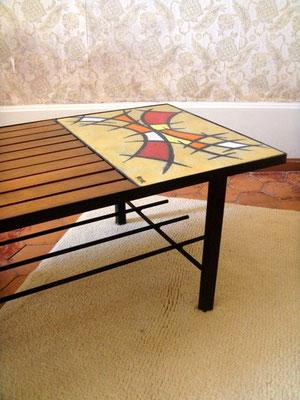 Table basse métal, bois et céramique vintage