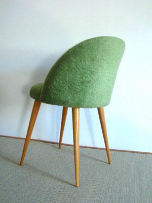 chaise moumoute vintage vert