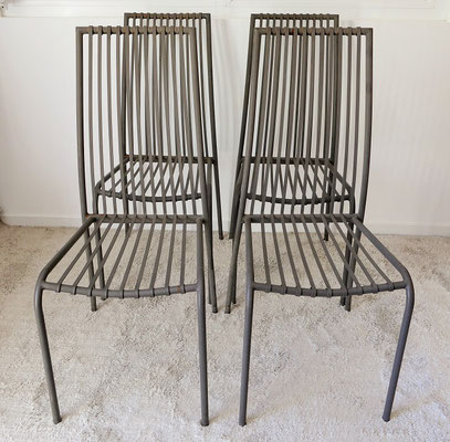 Suite de 4 chaises jardin métalliques
