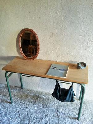 console / bureau d'école vintage