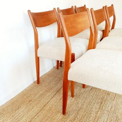 Suite de 6 chaises en teck scandinave