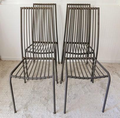 Suite 4 chaises de jardin métalliques