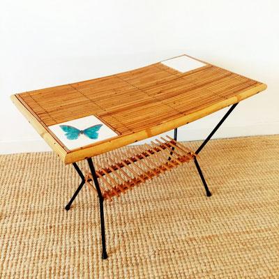 Table basse rotin métal et céramique vintage
