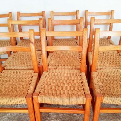 Suite de 10 chaises corde vintage