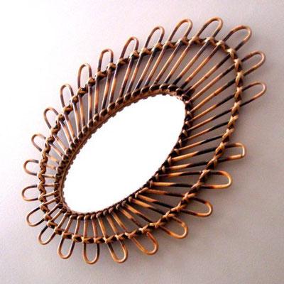 miroir rotin oeil marbré ref.14/0138
