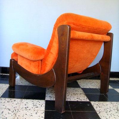 Fauteuils vintage orange années 70