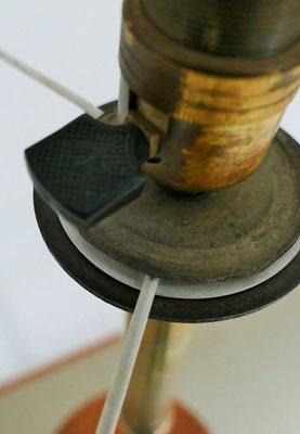 Lampadaire tablette bois et laiton