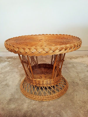 Table osier rotin vintage