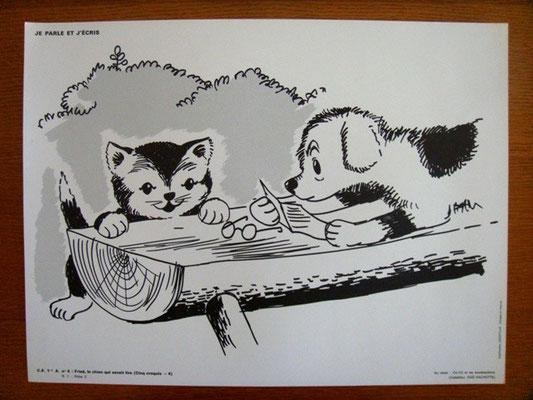 Gravures d'école pour enfant vintage