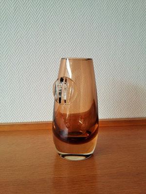 Vase en verre soufflé fumé vintage