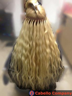 Loses Echthaar  Haarverlängerung mit der brasilianischen Methode mit blonden hochwertigem  Echthaar - Cabello Company Frankfurt
