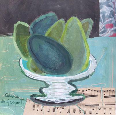 Avocats - Acrylique et collage - 20x20 cm (COL16)