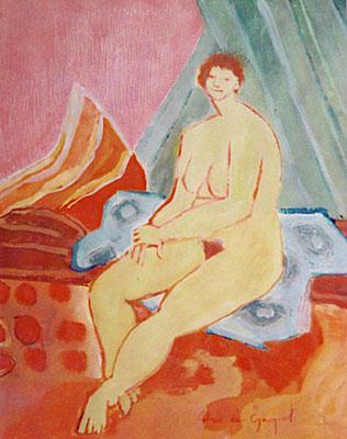 Assise sur un drap bleu - Huille - 50x48 cm - 2002 (MOD14)