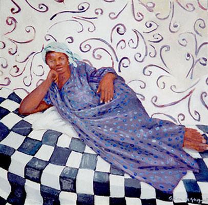 Africaine sur damier - Huile - 100x100 cm - 1997 (MOD03) VENDU