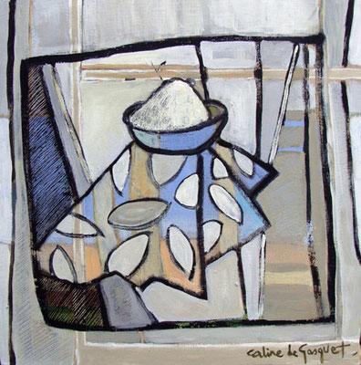 Bol de farine - Acrylique - 50x50 cm (NAT07) VENDU