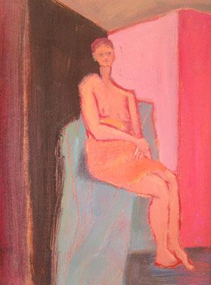 Perchée - Acrylique sur toile - 65x50 cm - 1998 (MOD10) VENDU