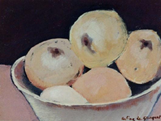 Coupe de fruits - Huile sur papier - 25x33 cm (NAT36) VENDU