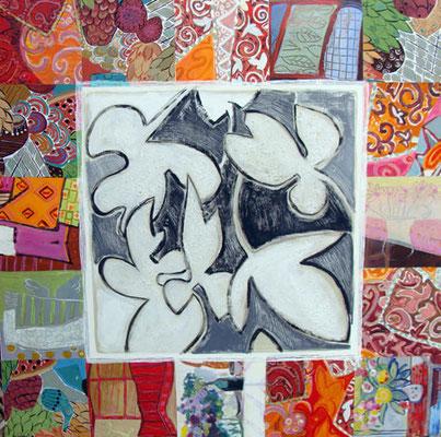 Vibrations - Collage et acrylique 100x100 cm (COL09) VENDU