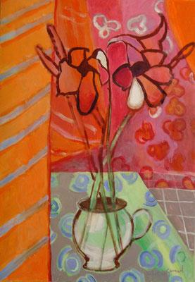 Amarylis - Acrylique sur toile - 100x80 cm (NAT50)