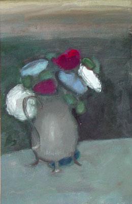 Bouquet au vase gris - Acrylique sur papier - 30x25 cm (NAT15)