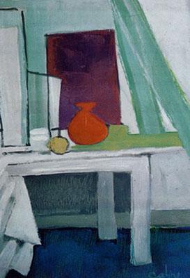 Le rideau vert - Huile sur papier - 48x30 cm - 2002 (NAT34)