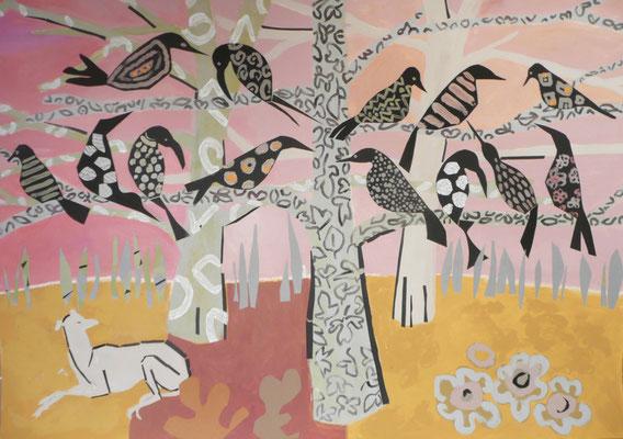 Corbeaux sur un arbre perchés 1 - Acrylique et collage - 80x100 cm cm (ANI07)