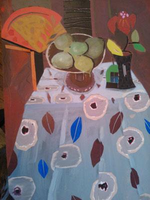 Nappe bleue - Collage et acrylique - 100x70 cm (COL15)