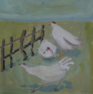 Trois poules - Acrylique sur papier - 20x20 cm (ANI05)