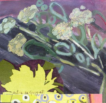 Bouquet - Acrylique et collage - 20x20 cm (COL16)