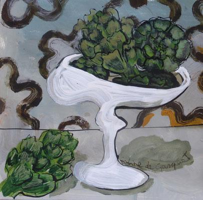 Artichauts - Acrylique sur papier - 20x20 cm (NAT58)