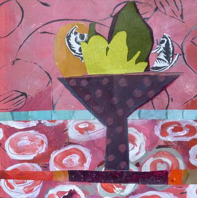 Coupe aubergine - Acrylique et collage - 20x20 cm (COL16)