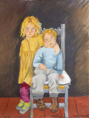 Liane et Solal - Acrylique sur toile - 65x50 cm  ()PRIVE