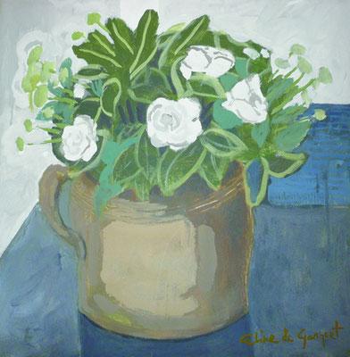 Pot en grés - Acrylique sur toile - 50x50 cm (NAT53) VENDU