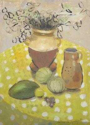Melons - Acrylique sur toile - 100x80 cm (NAT40) VENDU