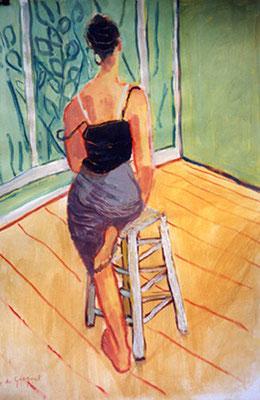 Jeune fille au tabouret - Huile - 65x50 cm (MOD08) VENDU