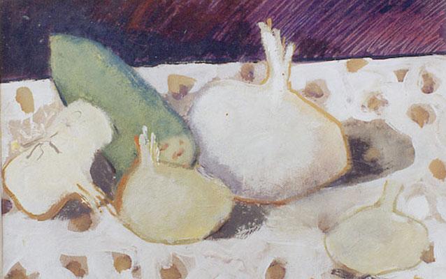 Coupe de fruits - Huile sur papier - 25x33 cm - 1993 (NAT37) VENDU