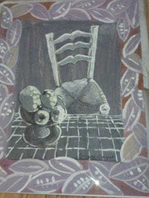 Chaise blanche - Techniques mixtes - 100x70 cm (NAT46) VENDU