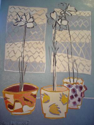 Amarylis - Huile sur toile - 120x90 cm (NAT05) VENDU